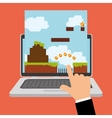 hand touch game online laptop device vector image