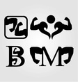 Set of bodybuilding logos vector image vector image