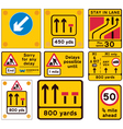 Road traffic work signs vector image vector image