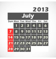 Calendar 2013 July vector image