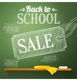 Back to school sale on the chalkboard with vector image