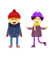 Boy and girl skating vector image
