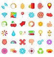 element icons set cartoon style vector image