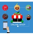 Flat design with e-commerce and online vector image