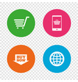 online shopping icons smartphone cart buy vector image