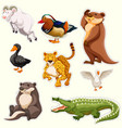 sticker set with different creatures vector image