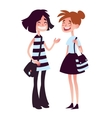 Two girls talking and laughing vector image