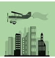 airplane and advertising banner over city vector image