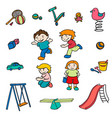 sketch colored children entertainments set vector image