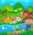 Farmer and farm animals in the farm vector image vector image