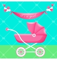 Greeting card with pink carriage vector image