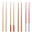 chopsticks set realistic wooden set of vector image