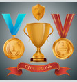 golden cup and medals with ribbons collection vector image