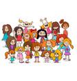Kid or teen cartoon girls characters group vector image