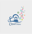 omputer cloud with man silhouette vector image