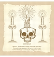 Skull and candles on vintage page vector image