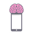 Smartphone Smart phone with brain Fantastic vector image