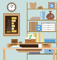 Workspace with a desk shelves boxes and other vector image