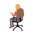 Woman Sitting on Chair and Pointing on Something vector image