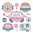 Abstract Valentines day decorative labels vector image vector image
