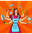 Successful Housewife Multitasking Woman vector image vector image