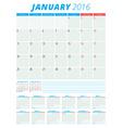Calendar 2016 flat design template Set of 12 vector image