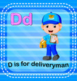 Flashcard letter d is for deliveryman vector image