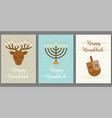 happy hanukkah greeting card deer and candle men vector image