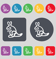Kangaroo Icon sign A set of 12 colored buttons vector image