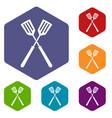 two metal spatulas icons set hexagon vector image