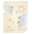 Blank piece of paper with stick notes and coffee s vector image