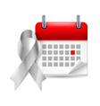 Silver awareness ribbon and calendar vector image