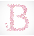 B letter Alphabet from pink petals of rose vector image