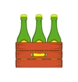 Beer wooden box icon cartoon style vector image