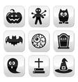 Halloween buttons set - pumpkin witch ghost vector image