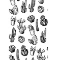 Hand Drawn Isolated Cactuses Seamless Pattern vector image