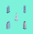 isometric building set of urban cityscape tower vector image
