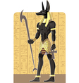 Mighty Great dark Anubis on Egypt background vector image
