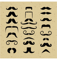 set mustache silhouettes on a retro background vector image