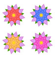 set of red blue yellow pink flowers vector image