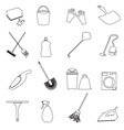simple cleaning tools outline icons set eps10 vector image