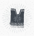 vintage label hand drawn poncho mexican vector image