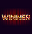 winner banner casino shining lamp vector image