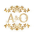 AO vintage initials logo symbol Letters A O vector image
