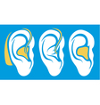 ear hearing aid deaf problem icons collection vector image