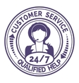 Round icon for non stop customer service on white vector image