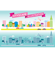 Colorful and monotone cityscape icon flat style ve vector image