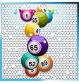Bingo balls breaking a white 3D circular tiles vector image