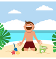 Funny kids on the beach Boy sunbathing and vector image