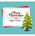 postcard tree merry christmas and happy new year vector image